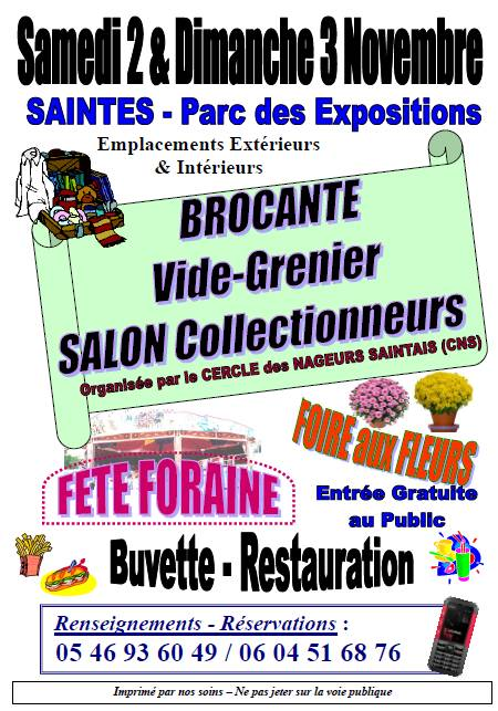 Saintes - Brocante, vide grenier, salon collectionneurs